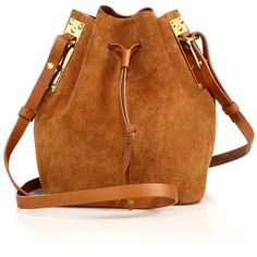 Sophie Hulme Suede Bucket Bag found on Polyvore featuring bags, handbags, shoulder bags, apparel & accessories, tan, suede shoulder bag, accessories handbags, drawstring purse, brown leather purse and drawstring handbags