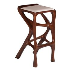 Barstool designed by Amorph made out of solid ash wood and leather. Stain color: walnut Dimension H x L x W seat height: inch. Please provide fabric or leather. Modern Bar Stools, Modern Chairs, Upholstered Bar Stools, Vintage Stool, Leather Bar Stools, Dark Walnut Stain, Counter Stools, Bar Counter, Stain Colors