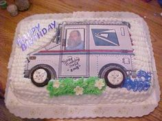 Wait a minute Mr. Postman Cake: for this mailman cake, I baked a chocolate 9x13 cake and frosted it with butter cream.  I earlier found a mail truck picture and then put my son's picture