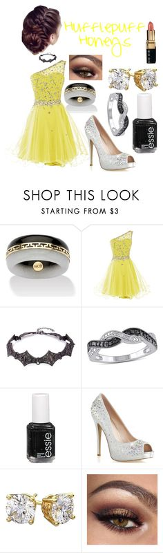 """""""Hufflepuff Homecoming"""" by cgrey-1 ❤ liked on Polyvore featuring Miadora, Essie and Bobbi Brown Cosmetics"""