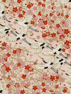 japanese chiyogami yuzen paper | Japanese YUZEN Chiyogami 12x9 Cherry Blossom Crane Pick | eBay