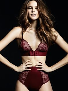 I love the oxblood red color of this #lingerie. The high-waist and the lace bra is classically chic!