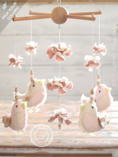 Bird Baby Mobile Hanging, #BabyShower Gift, Baby Girl Nursery Decor by #LollyCloth