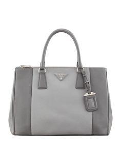 Saffiano Luxe Bicolor Tote Bag, Gray Multi (Marmo+Nube) by Prada at Bergdorf Goodman.