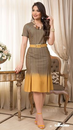 Classy Work Outfits, Classy Dress, Stylish Outfits, Elegant Dresses, Casual Dresses, Dress Outfits, Fashion Dresses, Ladies Day Dresses, Long Gown Dress