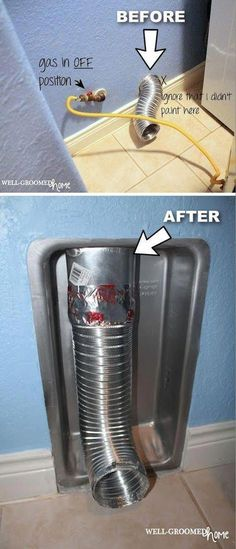 Dryer vent solution so that you can move your dryer closer to the wall. A brilliant laundry room idea, especially for small spaces! Home tips, tricks and life hacks that will make your life easier. Basement Laundry, Laundry Closet, Laundry Room Organization, Small Laundry, Laundry Room Design, Laundry Rooms, Mud Rooms, Laundry Area, Storage Organization
