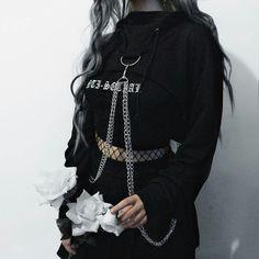 gothic home decor home decor homedecor Cyber Gothic Chain Crop Hoodie Bolero ROCK N DOLL Hipster Outfits, Gothic Outfits, Edgy Outfits, Mode Outfits, Grunge Outfits, Grunge Fashion, Cute Fashion, Gothic Fashion, Girl Outfits