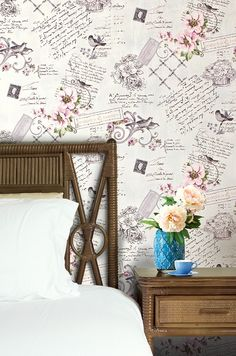 Cottage paste the wall wallpaper XXL EDEM 904-19 textured nonwoven romantic fabric look flowers birds green brown 10.65 m2