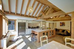 Light and airy oak framed kitchen extension