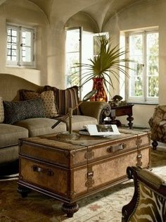 formal living area I love the use of this vintage trunk in the design of the room. The use of campaign furniture is important in the british colonial design. West Indies Decor, West Indies Style, British West Indies, Living Room Designs, Living Room Decor, Living Rooms, Living Spaces, British Colonial Decor, Campaign Furniture