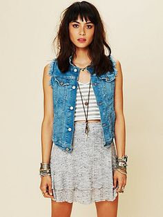 just upcycled a denim jacket into a denim vest. thank you, free people, for giving me a little outfit inspiration for it :)