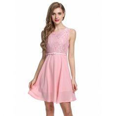 Meaneor Women Sleeveless Lace Chiffon Slim Fit Cocktail Party Dress W/ Belt