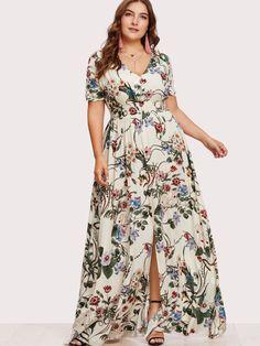 909608aab6 Shop Plus Slit Button Up Front Floral Dress online. SheIn offers Plus Slit  Button Up