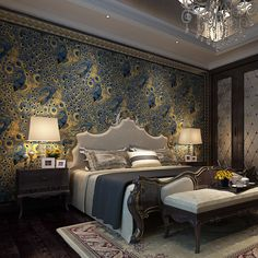 Peacock Print Paper Modern Peacock Wallpaper Paper Wall Paper 3d Roll Gold Bordered For Living