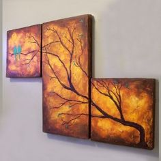 Two Birds in a Tree Diy Wall Art, Diy Art, Art Above Bed, Bird On Branch, Two Birds, Triptych, Tree Branches, Trees, Beautiful Artwork