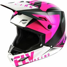 Fly Racing Elite Vigilant Offroad MX Motocross Helmet All Sizes & Colors Snowmobile Helmets, Dirt Bike Helmets, Motocross Helmets, Motocross Girls, Black Helmet, Bike Seat, Atv, Racing, Pink Black