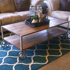 Learn how to make this industrial coffee table yourself. Its easier than it looks!