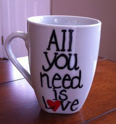 The Beatles All You Need Is Love Coffee Mug by TulaTinkers on Etsy, $8.00