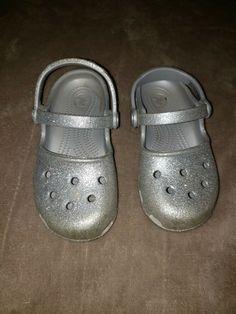 6e6e36a40346 (eBay Sponsored) Toddler Girls sz 10 Double Band Silver Glitter Crocs Clogs  Mules Shoes