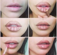 Picture Tutorial: Secret to making lips look bigger? These lip plumping glosses, paired with brown lip liner.