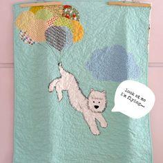 The dog in the air baby quilt crib size aqua.Nursery by nenimav