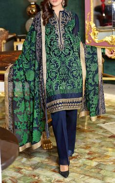 Buy Navy Blue/Green Embroidered Swiss Voile Dress by GulAhmed 2016