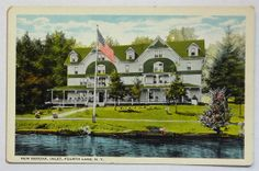 Adirondacks Mountains Inlet NY Fourth Lake New Neodak Hotel Color Postcard, Antique Vintage by OakwoodView, $4.00