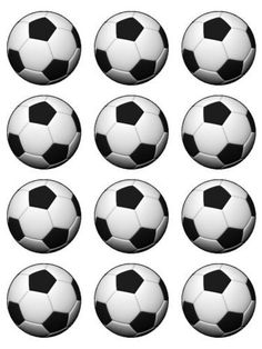 12 Soccer Ball Edible Icing Cupcake Cake Topper Images | eBay