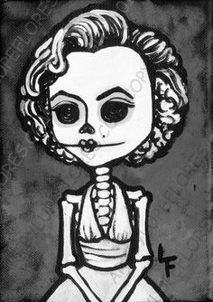 MARYLIN MONROE day of the dead 5x7 art print by Art By Lupe Flores, $6.99
