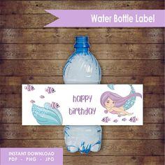 Mermaid Water Label Design by EllieDesignsbyE on Etsy Water Bottle Labels, Fiji Water Bottle, Handmade Items, Handmade Gifts, Happy Birthday, Purple Birthday, Label Design, Paper Goods, Birthday Invitations