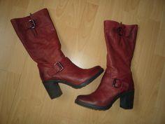 Echtleder Stiefel mit Schnallen Rot Leder Neuwertig Gr. 41