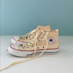 63f8ebfee4fdee Converse high tops - barely worn! Natural canvas high tops