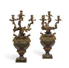 For Auction: Pair of Louis XV style bronze & marble candelabra (#0226) on Jul 26, 2020 | Andrew Jones Auctions in CA Andrew Jones, Flora Danica, Bird Boxes, Royal Copenhagen, Hanging Lanterns, Candelabra, Art Decor, Marble, Auction
