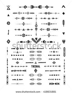 Hand drawn tribal patterns with stroke, line, arrow, boho elements, feathers, geometric symbols rustic style. Flash Tattoo, tribal logo, boho shapes - stock vector