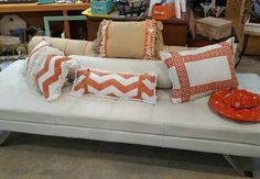 Orange and White! Beautiful Leather Bench! #restylechicago #reluxvintage https://www.instagram.com/p/BO5ybIZhjvB/