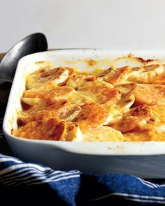 Sweet potatoes and earthy turnips are perfect partners in this festive side dish. Bake the vegetables in chicken broth and white wine, then sprinkle Gruyere cheese over the top during the last 15 minutes.
