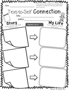 printable to teach your students how to make Text-to-Self Connections Kindergarten Reading, Teaching Reading, Guided Reading, Student Teaching, Reading Workshop, Reading Skills, Text To Self Connection, Text To Text Connections, Read To Self