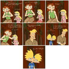 """-Stella y Helga: """"Cuando le ponga las manos encima voy a golpearlo""""(hablan de la sombra). -!!! -*risas* -Stella: """"¿Qué tal si yo lo tacleo para ti y tu le das un buen golpe en la cara?"""" -Helga: """"¡E-está bien!"""" -Miles: """"Ja, ja. Son tan parecidas estas dos"""" -Miles: """"Mucho instinto de lucha y coraje en una chica tan joven. Es especial, ¿no?"""" -Arnold: """"...sí """" -Arnold: """"Sí, en verdad lo es"""""""