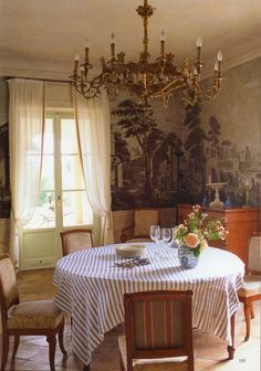 "robert-hadley: ""The World of Interiors, June Photo - Roland Beaufre "" World Of Interiors, French Interiors, House Interiors, Mahogany Flooring, Scenic Wallpaper, European Style Homes, English Country Cottages, English Decor, Street House"