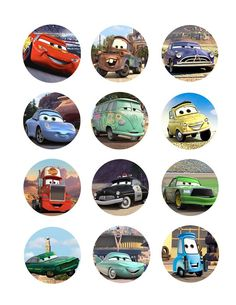 / Disney Cars Cake, Disney Cars Party, Disney Cars Birthday, Bottle Cap Projects, Bottle Cap Crafts, Car Themed Parties, Cars Birthday Parties, Edible Printing, Baby Boy First Birthday