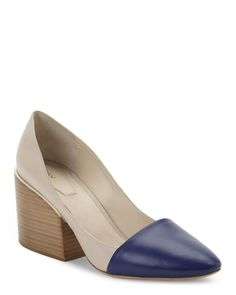 """Check out """"Beige & Navy Two-Toned Block Heel Pumps"""" from Century 21"""