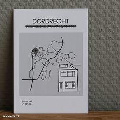 Verhuiskaart Dordrecht, stadsplattegrond, minimalistische Scandinavische stijl, Emi.frl