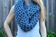 Check out my new Etsy shop, Sweet Bohemia  Long Double Crochet Infinity Scarf- Denim Blue