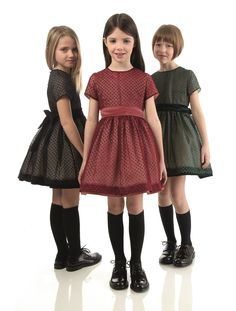 Trio of polka-dotted devorè tulle dresses in black, burgundy and bottle green%sBlack brushed calfskin fringed lace-up shoe%s Young Fashion, Little Girl Fashion, Little Girl Dresses, Kids Fashion, Fashion Fall, Girls Party Dress, Baby Dress, Amusement Enfants, Girl Outfits