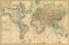 Japanese map of the world. 1858.