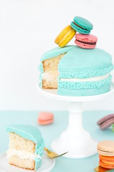 How cute is this giant macaron cake in vibrant colors?