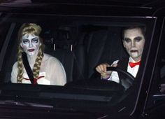 Pin for Later: Look Back at All of Last Year's Memorable Celebrity Halloween Costumes! Courteney Cox as a Creepy Doll and Johnny McDaid as a Vampire