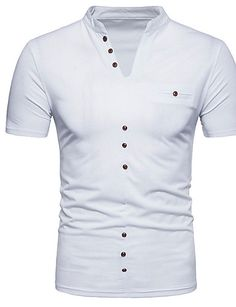 5135aab1a Men s Weekend Simple Slim T-shirt-Solid Colored Stand