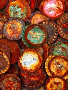 rusty bottle tops. Again there is a lot of use of orange, and other bold colours