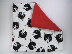 """13"""" Plush Catnip Mat with monochrome cat faces and red back by CherylAnnsPets on…"""